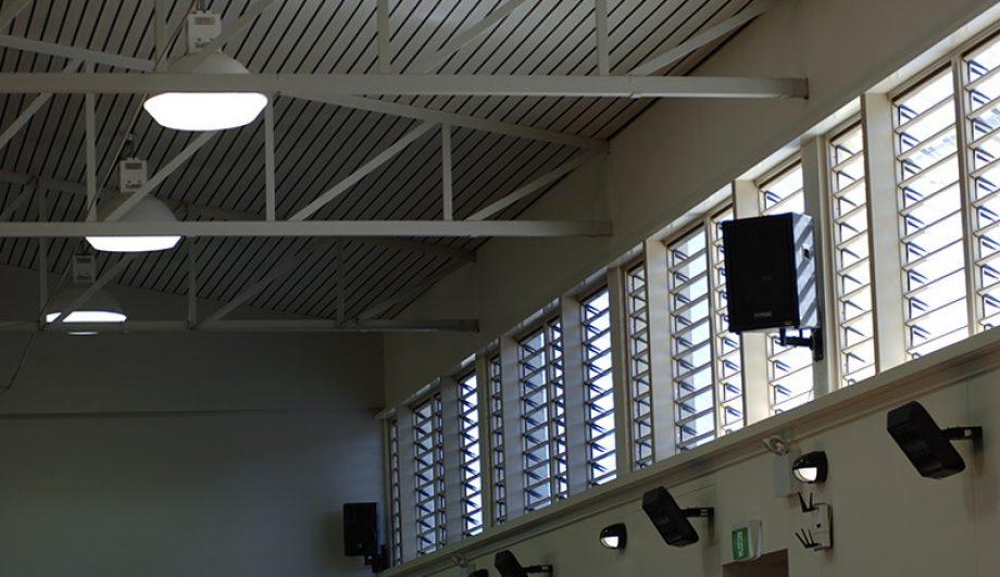 Trinity Catholic College sports building louvre window close up